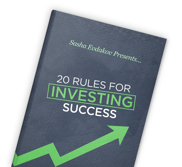 Book by Sasha Evdakov: 20 Rules for Investing Success Layflat Thumbnail