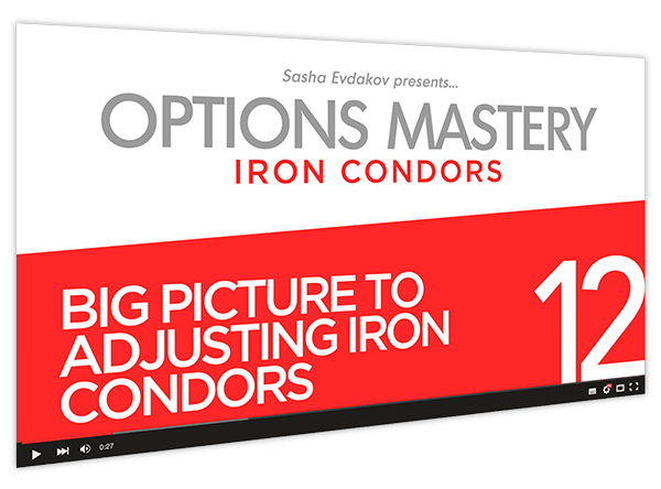 Iron Condors Options Mastery Course Thumbnail for Module 12 Big Picture to Adjusting Iron Condors