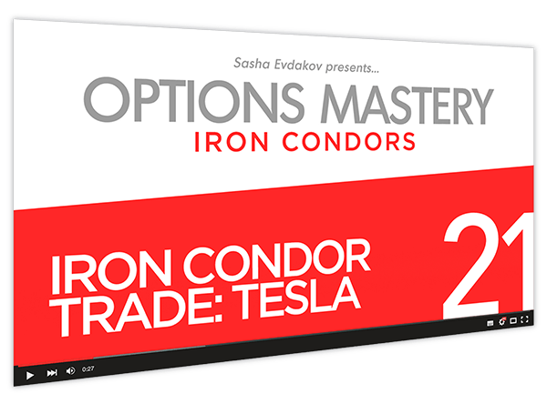 Iron Condors Options Mastery Course Thumbnail for Module 21 Iron Condor Trade Tesla