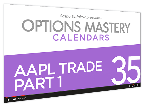 Calendars Options Mastery Course Thumbnail for Module 35 AAPL Trade Part 1